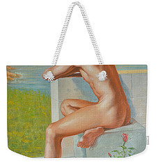 Original Classic Oil Painting Man Body Art  Male Nude And Vase #16-2-4-09 Weekender Tote Bag