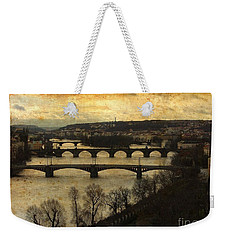 Vintage Prague Vltava River Weekender Tote Bag