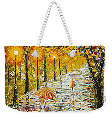 Rainy Autumn Beauty Original Palette Knife Painting Weekender Tote Bag