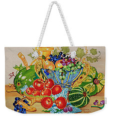 Red Apples And  Grapes Oil Painting Weekender Tote Bag