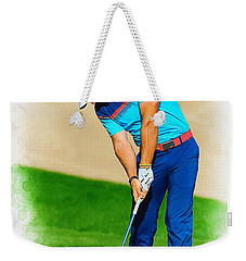 Rory Mcilroy Plays His Second Shot On The Par 4 Weekender Tote Bag