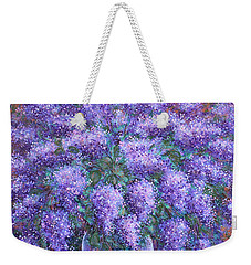 Weekender Tote Bag featuring the painting  Scented Lilacs Bouquet by Natalie Holland