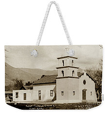 Weekender Tote Bag featuring the photograph  St. Thomas Aquinas Catholic Church  Ojai Cal 1920 by California Views Mr Pat Hathaway Archives