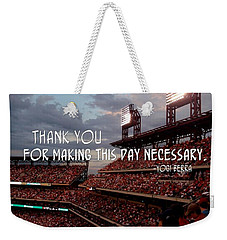 Take Me Out To The Ballgame Quote Weekender Tote Bag by JAMART Photography