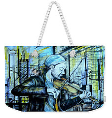 Weekender Tote Bag featuring the drawing  The Rock Symphony. David Garrett by Anna  Duyunova