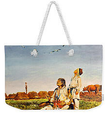 Weekender Tote Bag featuring the painting End Of The Summer- The Storks by Henryk Gorecki