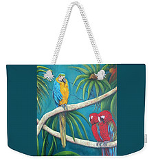 Three Is A Crowd,macaws Weekender Tote Bag