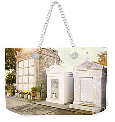 Weekender Tote Bag featuring the photograph   Tombstones  by Erika Weber