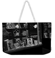 Weekender Tote Bag featuring the photograph  Window Display Night Of Elvis Presley's Death Recordland Portland Maine  1977 by David Lee Guss