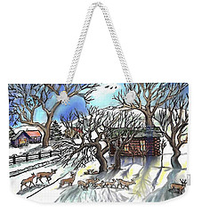 Wyoming Winter Street Scene Weekender Tote Bag