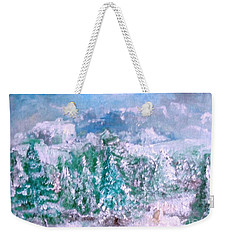 Weekender Tote Bag featuring the painting A Natural Christmas by Laurie L