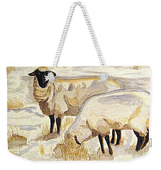 Weekender Tote Bag featuring the painting A Peaceful Winter by Angela Davies