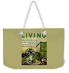 A Table Setting With A Floral Centerpiece Weekender Tote Bag
