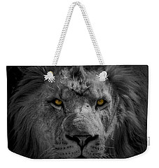 African Lion Weekender Tote Bag by Peter Lakomy