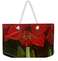 Weekender Tote Bag featuring the painting Amaryllis by Nancy Griswold