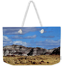 Weekender Tote Bag featuring the photograph Amber Waves Of Grain And Purple Mountains by Nadalyn Larsen