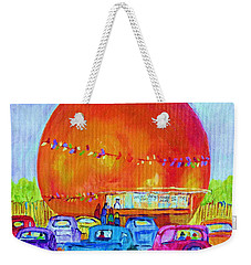 Weekender Tote Bag featuring the painting Antique Cars At The Julep by Carole Spandau