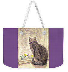 Weekender Tote Bag featuring the painting April Showers by Angela Davies