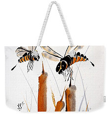 Weekender Tote Bag featuring the painting Beeing Present by Bill Searle