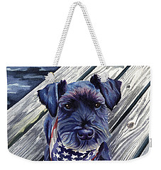 Blue Black Dog On Pier Weekender Tote Bag