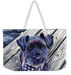 Black Dog On Pier Weekender Tote Bag