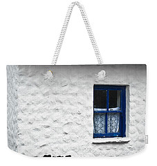 Weekender Tote Bag featuring the photograph Blue Cottage Window by Jane McIlroy