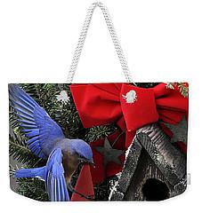 Bluebird Christmas Wreath Weekender Tote Bag