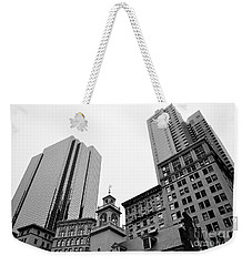 Boston Cityscape Black And White Weekender Tote Bag