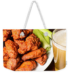 Buffalo Wings With Celery Sticks And Beer Weekender Tote Bag