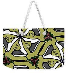 Weekender Tote Bag featuring the digital art Cat / Shoe / Rose by Elizabeth McTaggart