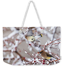 Weekender Tote Bag featuring the photograph Cedar Waxwing by Michael Chatt