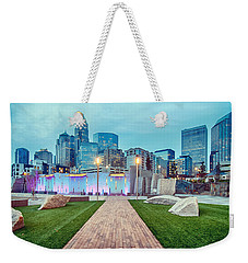 Charlotte City Skyline In The Evening Weekender Tote Bag