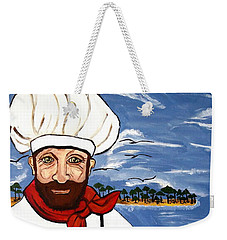 Weekender Tote Bag featuring the painting Chef From Israel by Nora Shepley