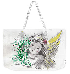Weekender Tote Bag featuring the mixed media Christmas Angel by Laurie L