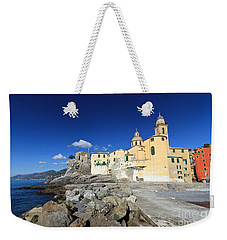 Weekender Tote Bag featuring the photograph church in Camogli by Antonio Scarpi