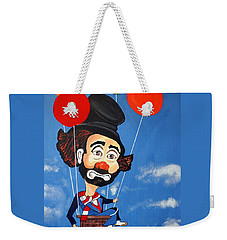 Weekender Tote Bag featuring the painting Clown Up Up And Away by Nora Shepley