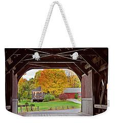 Covered Bridge In Autumn Weekender Tote Bag