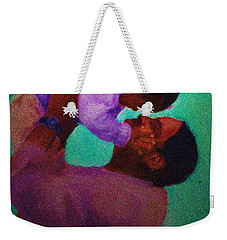 Weekender Tote Bag featuring the painting Daddys' Little Girl by Vannetta Ferguson