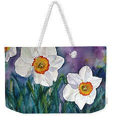 Weekender Tote Bag featuring the painting Daffodil Dream by Anna Ruzsan