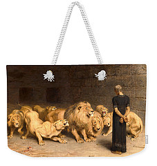 Weekender Tote Bag featuring the painting Daniel In The Lions Den by Briton Riviere