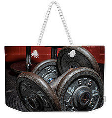 Dumbbells Weekender Tote Bag by Verena Matthew