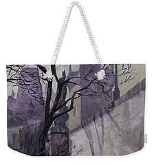 Weekender Tote Bag featuring the painting Dusk At The Charles Bridge by Marina Gnetetsky