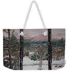 Weekender Tote Bag featuring the painting Ellijay - Pink Knob Mountain - Signed by Jan Dappen