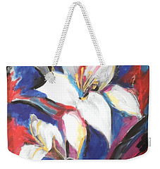 Fair Pure Fragile White Lilies Weekender Tote Bag by Esther Newman-Cohen