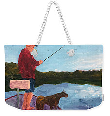 Weekender Tote Bag featuring the painting Fishing by Donald J Ryker III