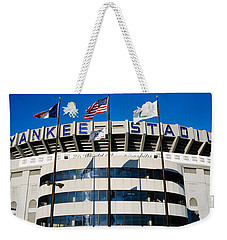 Flags In Front Of A Stadium, Yankee Weekender Tote Bag