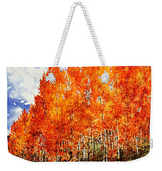 Weekender Tote Bag featuring the painting Flaming Aspens 2 by Barbara Jewell