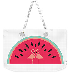 Flamingo Watermelon Weekender Tote Bag by Susan Claire