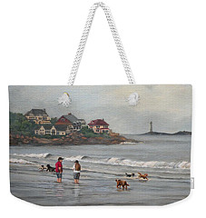 Fog Rolling In On Good Harbor Beach Weekender Tote Bag by Eileen Patten Oliver