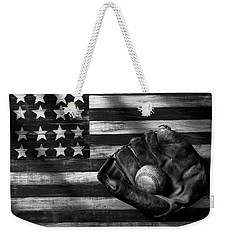Folk Art American Flag And Baseball Mitt Black And White Weekender Tote Bag by Garry Gay